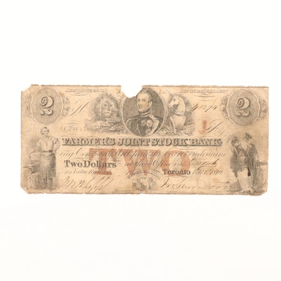 Obsolete Canadian Farmer's Joint Stock Bank $2 Banknote From 1849