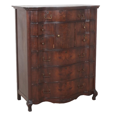 Wood Bow-front Chest of Drawers, Antique