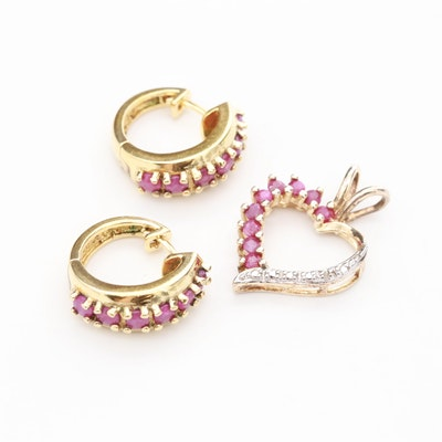 Gold Wash on Sterling Silver Ruby and Diamond Earrings and Heart Pendant