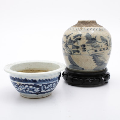 Chinese Ceramic Vase and Bowl, Late Qing Dynasty