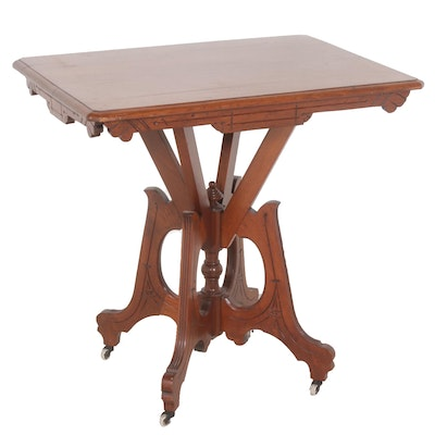 Solid Wood Eastlake Side Table, Late 19th Century