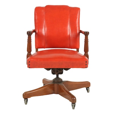 Coral Vinyl Upholstered Wooden Office Chair, 1970s