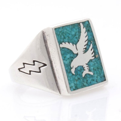 Sterling Silver Crushed Turquoise Southwest Style Ring