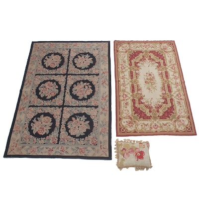 Aubusson Style Floral Needlepoint Area Rugs with Handwoven Accent Pillow
