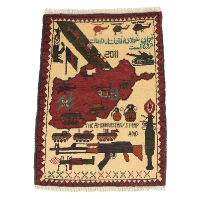 Hand-Knotted Afghan Wool Pictorial War Rug