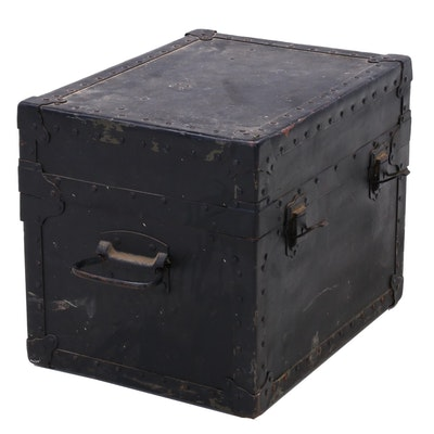 Small Antique Trunk With Interior Box Compartment
