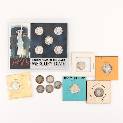 Assortment of Barber, Mercury and Roosevelt Silver Dimes