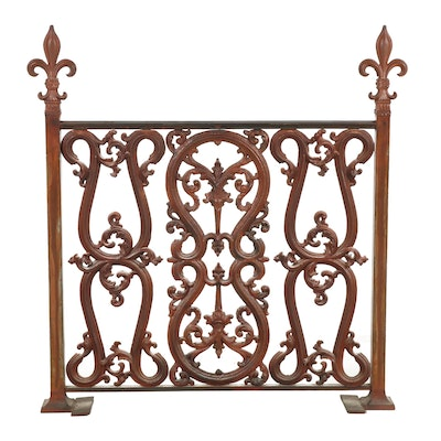 Painted Cast Iron Fireplace Screen, Mid-Century