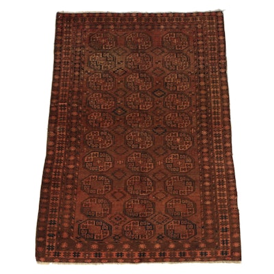 Hand-Knotted Turkman Tribal Bokhara Wool Area Rug