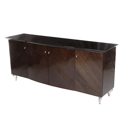 Contemporary Modern Glossy Burl Veneered Buffet