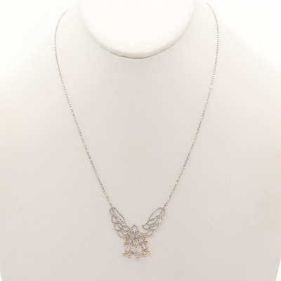 Sterling Silver Angel Necklace with 10K Yellow Gold Accents