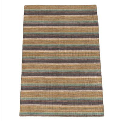 Handwoven Indian Banded Wool Area Rug