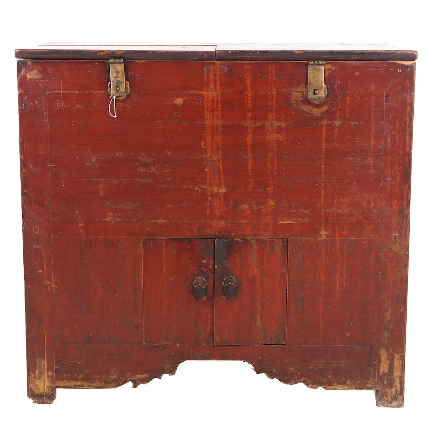 Antique Chinese Lacquered Elm Storage Cabinet, 19th Century