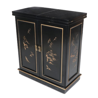 Contemporary Chinoiserie Black and Gold Painted Wooden Flip-Top Bar