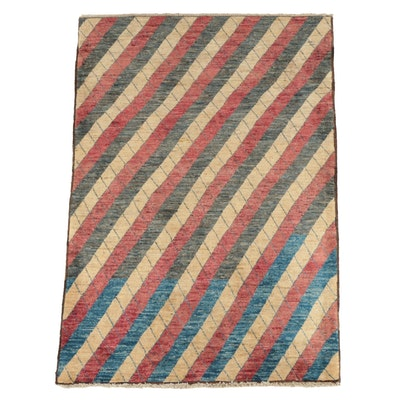Hand-Knotted Afghan Gabbeh Style Wool Area Rug
