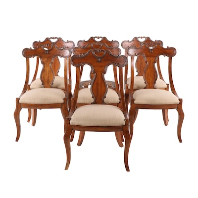 Italianate Carved Pine Gondola Dining Chairs