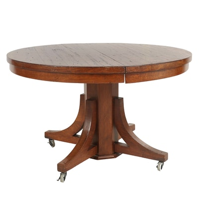 Rustic Round Dining Table with Casters, Late 20th Century