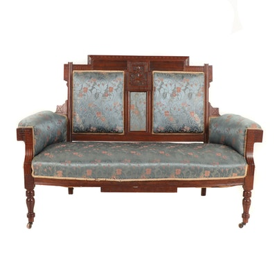 Victorian, Eastlake Style Walnut and Upholstered Settee, Late 19th Century