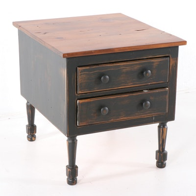 Contemporary Painted Pine Two-Drawer Side Table