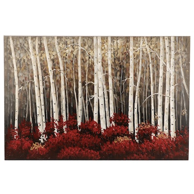 Contemporary Landscape Oil Painting of Birch Forest