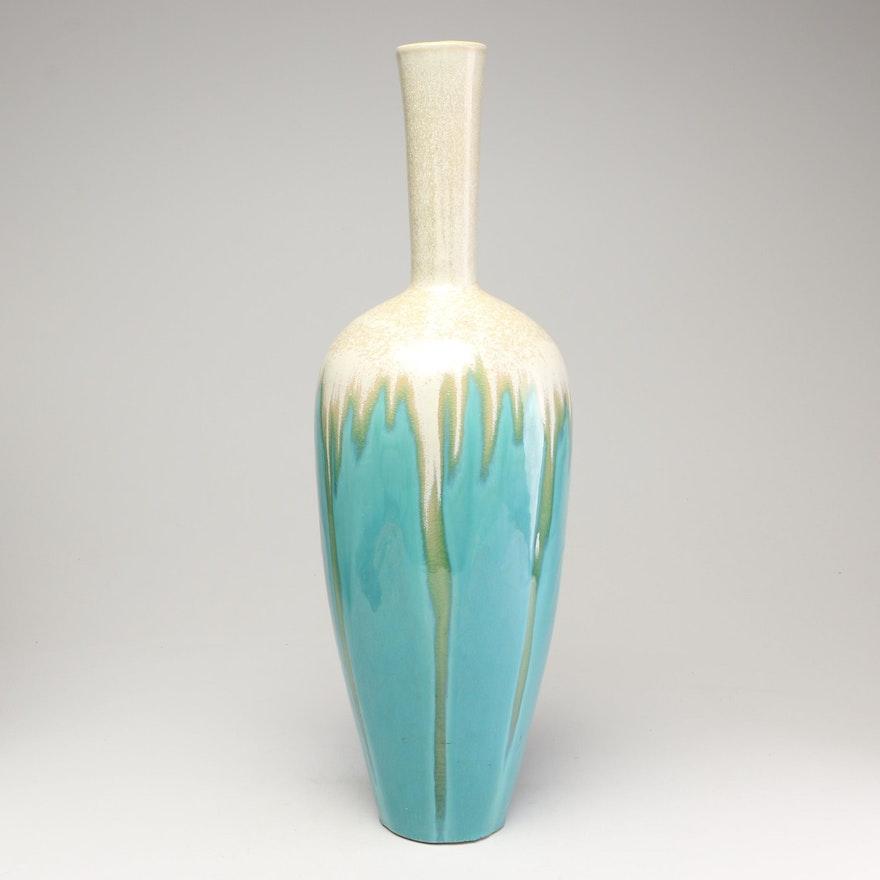 Glazed Stoneware Long Neck Floor Vase, Contemporary