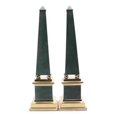 Green and Gold Tone Metal Obelisks