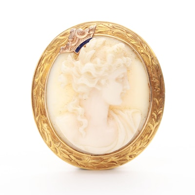 14K Yellow Gold Coral Cameo Brooch with Enamel Accent