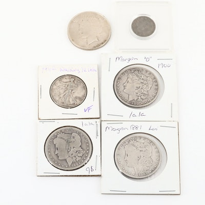 Six U.S. Antique Coins Including Four Silver Dollars