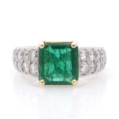 Platinum and 18K Yellow Gold Emerald and 1.00 CTW Diamond Ring