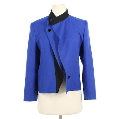 Louis Feraud Blue Wool Skirt Suit Trimmed in Black with Paisley Silk Blouse