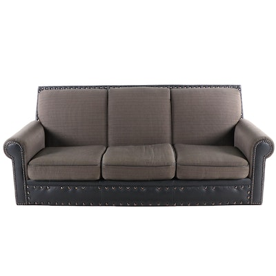 Contemporary Sofa With Leather and Nailhead Trim by Classic Craft, Inc.