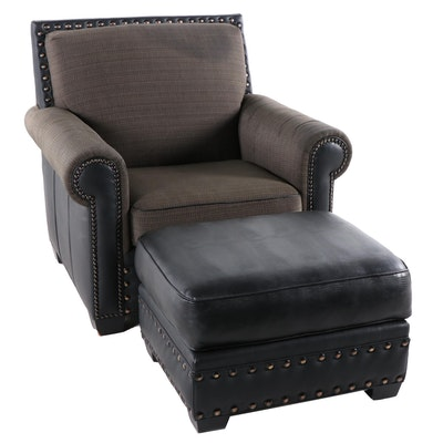 Contemporary Club Chair and Ottoman Leather and Nailheads by Classic Craft Inc.