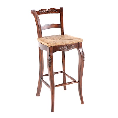 French Provincial Style Cherry Rush Seat Bar Chair