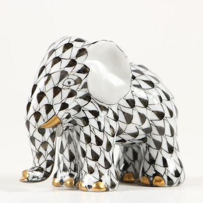 "Herend Black Fishnet ""Miniature Elephant"" Porcelain Figurine, November 1995"