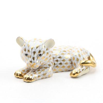"""Herend Guild Gold Fishnet """"Baby Sumatra Tiger"""" Porcelain Figurine, November 2002"""