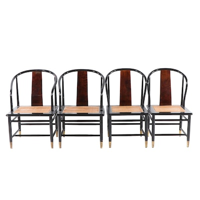 Henredon Chinese Style Black Lacquer Roundback Cane Seat Dining Chairs
