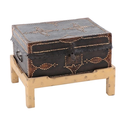 Contemporary Chest On Stand with Nail Head Trim
