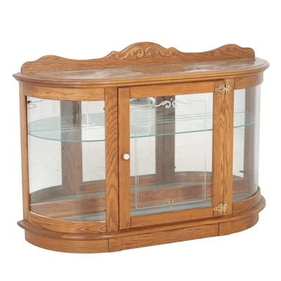 Oak Curved-Front Display Case