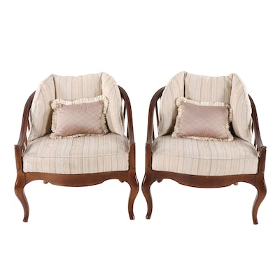 Pair of French Provincial Style Barrel Back Armchairs, Mid-20th Century