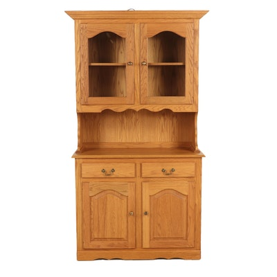 Two Piece Wooden Hutch, Late 20th Century