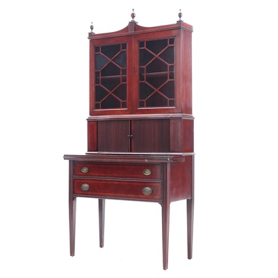 Hepplewhite Style Mahogany Finish Secretary Desk
