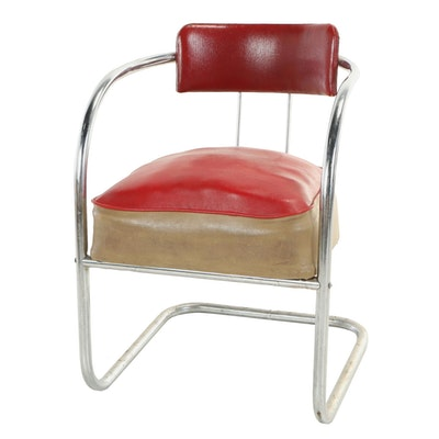 Chromium-Plated Tubular Steel and Two-Tone Vinyl Cantilvevered Armchair