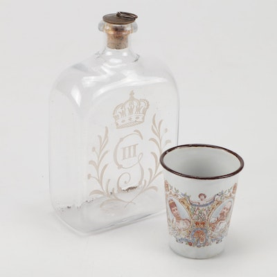Etched George III Decanter and Coronation Cup of Edward II and Alexandra 1902