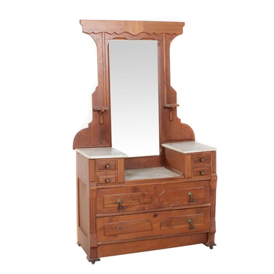 Victorian Dresser with Mirror and Marble Top