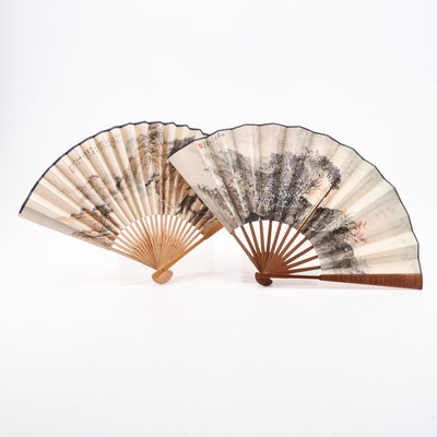 Chinese Ink and Watercolor Landscape and Calligraphy Folding Fans