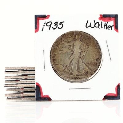 Nine Walking Liberty Silver Half Dollars