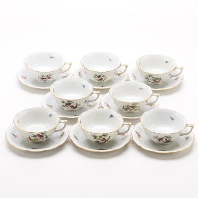 "Herend ""Rothschild Bird"" Porcelain Teacups and Saucers for Eight"