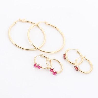 14K Yellow Gold Synthetic Ruby and Garnet Hoop Earrings