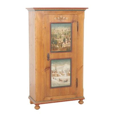 Swedish Allmoge Paint-Decorated Pine Cabinet, 19th Century