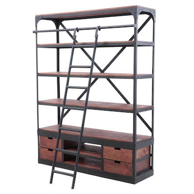 Contemporary Bookcase with Ladder